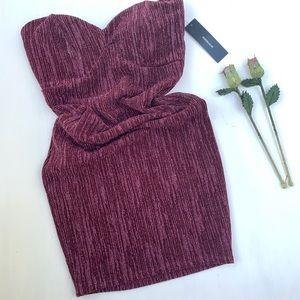 LULUS Strapless Mini Dress metallic burgundy | S